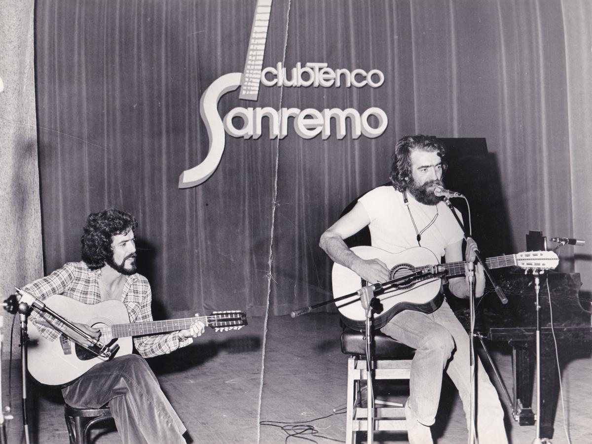 Con Enzo Capuano, Sanremo, 1975