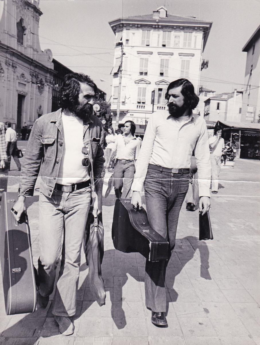 Con Francesco Guccini e Roberto Vecchioni, Sanremo, 1975