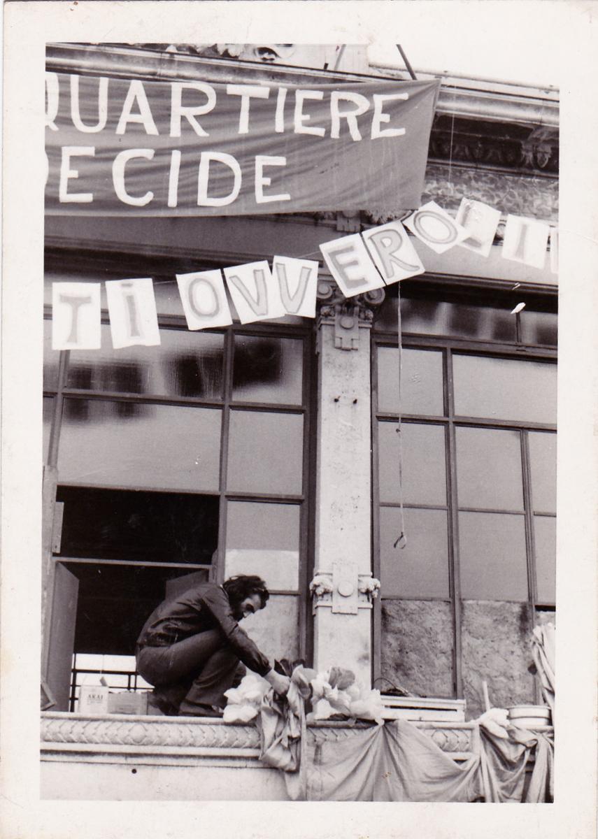 Durante l'occupazione della Palazzina Liberty, Milano, 1974